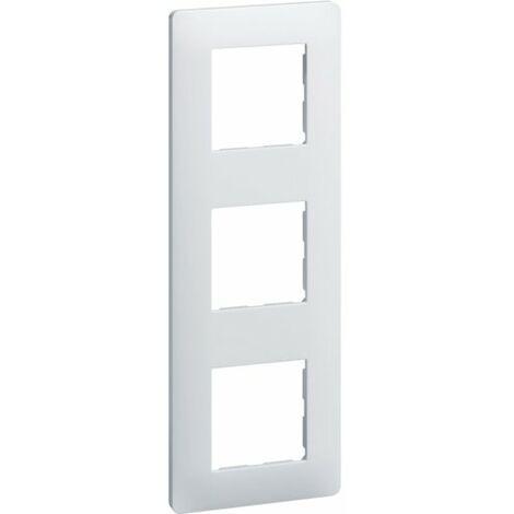 Plaque Essensya - 3 postes - Réversible - Entraxe 71mm - Blanc - Hager