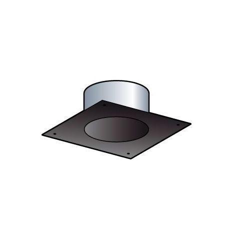 Plaque finition tubage carree 20x20cm (section 30x30) noir (ral9019) dn80mm