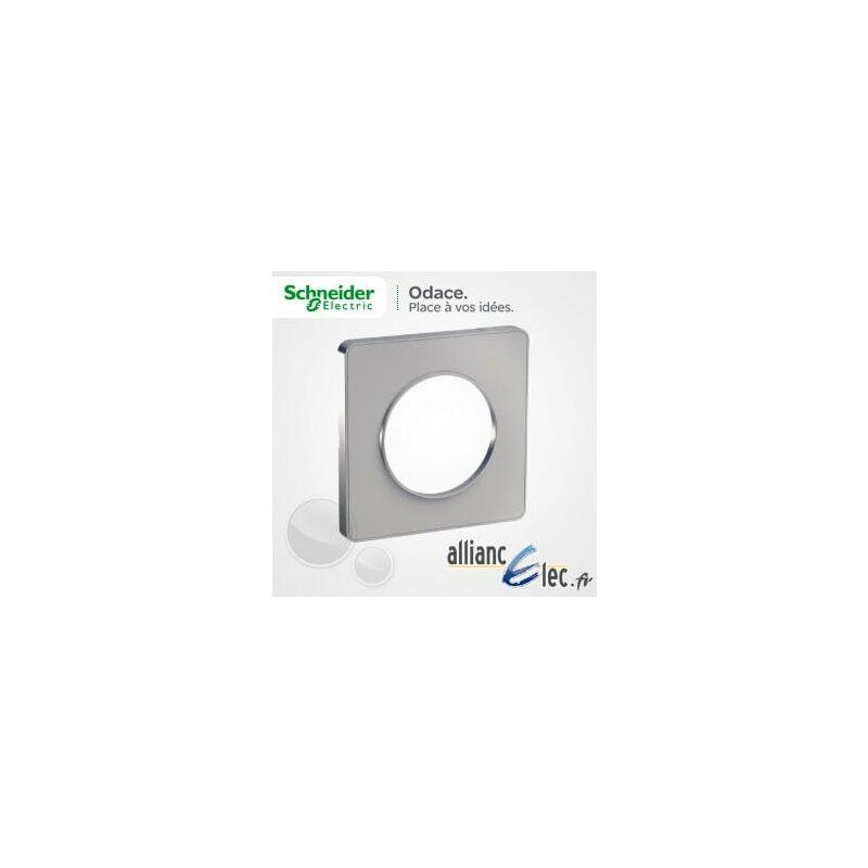 Plaque 1 poste Odace Styl Aluminium Schneider Electric Prise TV Odace Aluminium