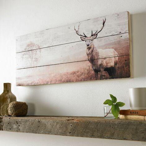 Plaque murale décorative en bois Cerf 30 x 70cm Beige