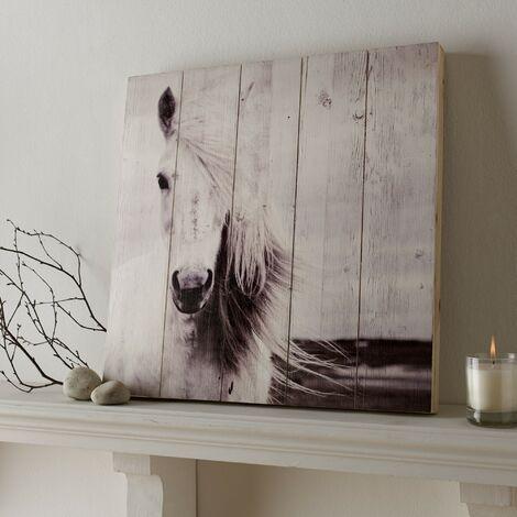 Plaque murale décorative en bois Cheval 50 x 50cm Blanc, Beige
