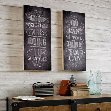 Plaque murale décorative en bois Good Things 30 x 70cm