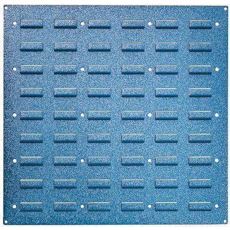 Plaque murale en tôle d'acier - pour accrochage de bacs, bleu clair RAL 5012 - hauteur 480 mm, lot de 2 - Coloris piétement: bleu fluo