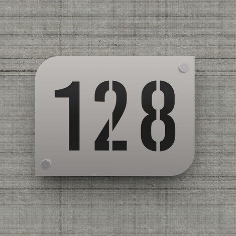 Plaque numéro de rue / maison argent brillant design avec fond personnalisable - Modèle URBAN - Plexi - 0,6 - Plexi