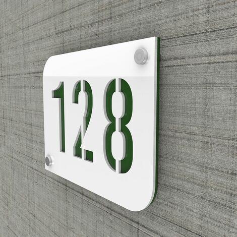 Plaque numéro de rue / maison blanc design avec fond personnalisable - Modèle URBAN - Plexi - 0,6 - Plexi