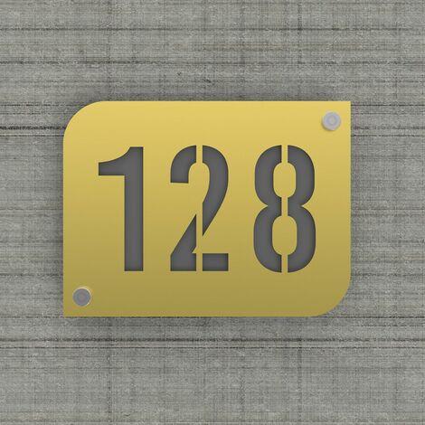 Plaque numéro de rue / maison couleur or design avec fond personnalisable - Modèle URBAN - Plexi - 0,6 - Plexi