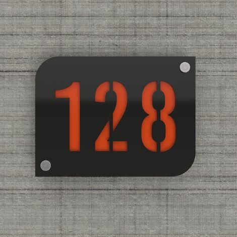 Plaque numéro de rue / maison noire design avec fond personnalisable - Modèle URBAN - Plexi - 0,6 - Plexi