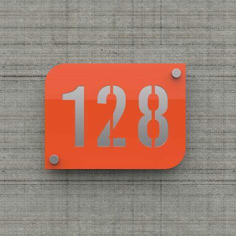 Plaque numéro de rue / maison orange design avec fond personnalisable - Modèle URBAN - Plexi - 0,6 - Plexi