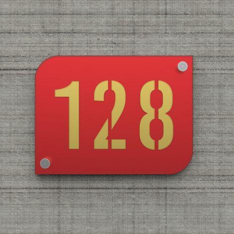 Plaque numéro de rue / maison rouge design avec fond personnalisable - Modèle URBAN - Plexi - 0,6 - Plexi
