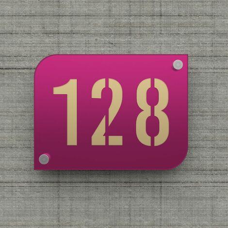 Plaque numéro de rue / maison violet design avec fond personnalisable - Modèle URBAN - Plexi - 0,6 - Plexi