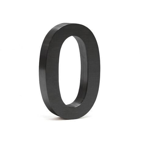 """Plaque Numéro Maison """"0"""" Arial Anthracite 3D 20cm Acier fin Résistant intempéries Matériel Fixation"""
