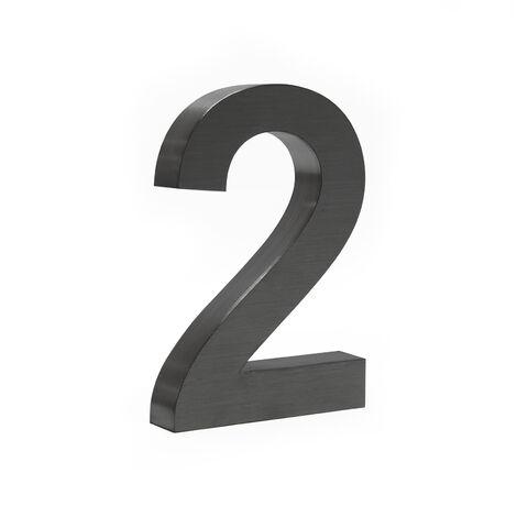 """Plaque Numéro Maison """"2"""" Arial Anthracite 3D 20cm Acier fin Résistant intempéries Matériel Fixation"""
