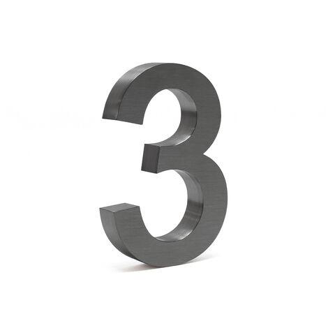 """Plaque Numéro Maison """"3"""" Arial Anthracite 3D 20cm Acier fin Résistant intempéries Matériel Fixation"""
