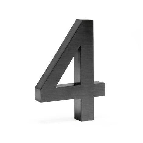 """Plaque Numéro Maison """"4"""" Arial Anthracite 3D 20cm Acier fin Résistant intempéries Matériel Fixation"""