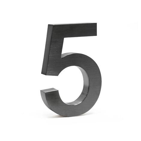 """Plaque Numéro Maison """"5"""" Arial Anthracite 3D 20cm Acier fin Résistant intempéries Matériel Fixation"""