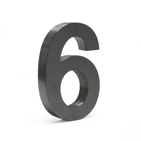 """Plaque Numéro Maison """"6"""" Arial Anthracite 3D 20cm Acier fin Résistant intempéries Matériel Fixation"""