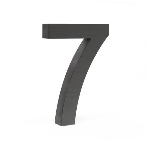 """Plaque Numéro Maison """"7"""" Arial Anthracite 3D 20cm Acier fin Résistant intempéries Matériel Fixation"""