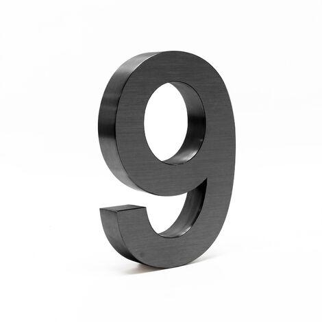 """Plaque Numéro Maison """"9"""" Arial Anthracite 3D 20cm Acier fin Résistant intempéries Matériel Fixation"""