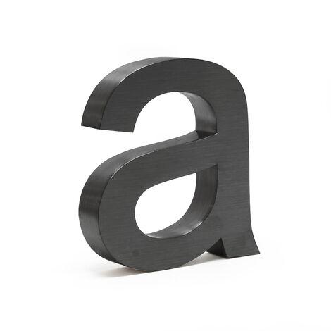 """Plaque Numéro Maison """"a"""" Arial Anthracite 3D 15cm Acier fin Résistant intempéries Matériel Fixation"""