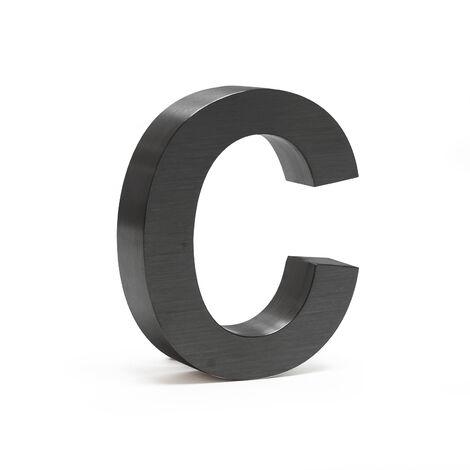 """Plaque Numéro Maison """"c"""" Arial Anthracite 3D 15cm Acier fin Résistant intempéries Matériel Fixation"""