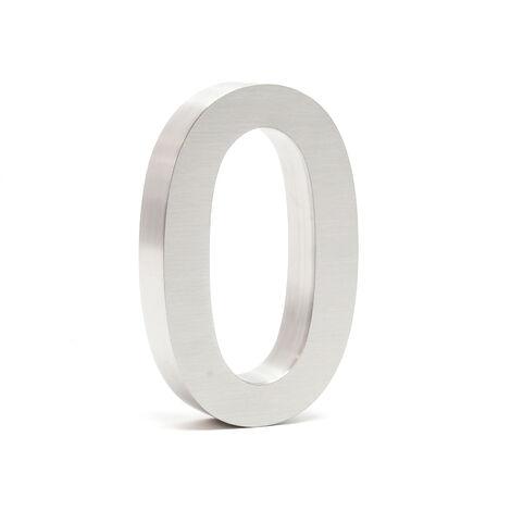 """Plaque Numéro Maison Chiffre """"0"""" 3D 20cm Acier inoxydable Résistant Intempéries Matériel Fixation"""