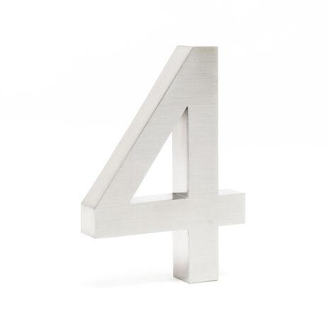"""Plaque Numéro Maison Chiffre """"4"""" 3D 20cm Acier inoxydable Résistant Intempéries Matériel Fixation"""