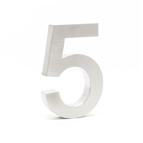 """Plaque Numéro Maison Chiffre """"5"""" 3D 20cm Acier inoxydable Résistant Intempéries Matériel Fixation"""