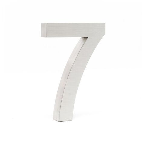 """Plaque Numéro Maison Chiffre """"7"""" 3D 20cm Acier inoxydable Résistant Intempéries Matériel Fixation"""
