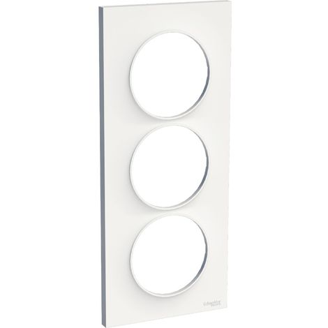 Odace Styl, plaque Blanc 3 postes verticaux entraxe 57mm