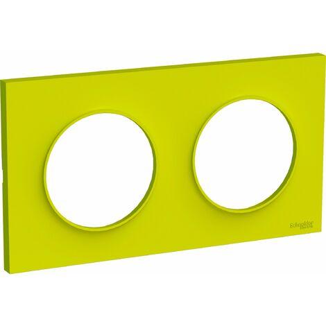 Plaque Odace Styl Vert Chartreuse 2 postes horiz. ou verticaux entraxe 71mm Schneider Electric