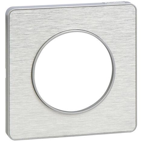 Plaque Odace Touch - 1 poste - Aluminium brossé avec liseré alu - Schneider Electric
