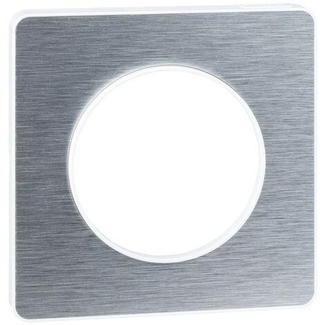 Plaque Odace Touch - 1 poste - Aluminium brossé avec liseré blanc - Schneider Electric