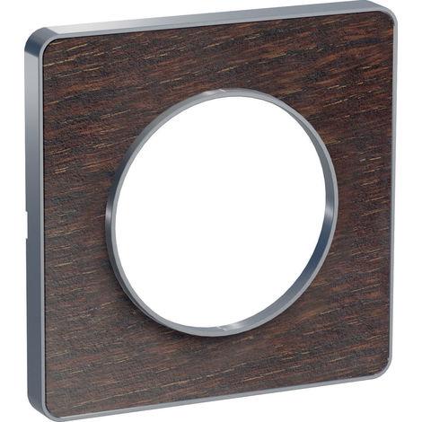 Plaque Odace Touch 1 poste - Wengué liseré aluminium