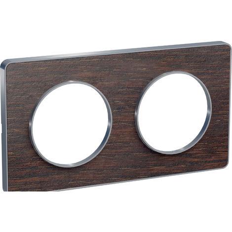 Plaque Odace Touch 2 postes - Wengué liseré aluminium