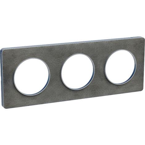 Plaque Odace Touch 3 postes - Ardoise liseré aluminium