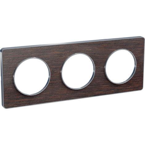 Plaque Odace Touch 3 postes - Wengué liseré aluminium