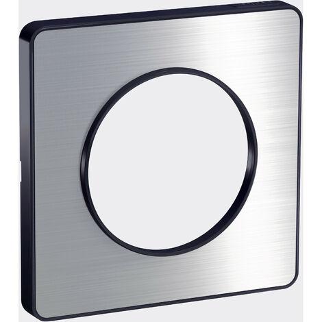 Plaque Odace Touch, Aluminium brossé avec liseré Anthracite 1 poste Schneider Electric