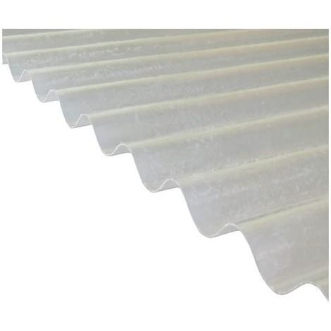 Plaque polyester ondulée toit translucide (PO 76/18 - petite onde) - Coloris - Translucide, Largeur totale de la plaque - 90cm, Longueur totale de la plaque - 2m
