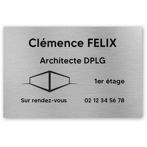 Plaque professionnelle personnalisée avec logo en PVC pour architecte, cabinet d'architecture - Format 30 cm x 20 cm - Noire lettres blanches - Adhésif 3M - Noire lettres blanches