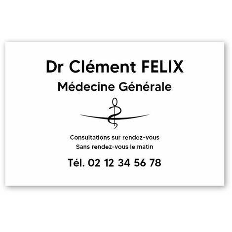 Plaque professionnelle personnalisée avec logo en PVC pour médecin - Format 30 cm x 20 cm - Argent lettres noires - Vis + chevilles + cache vis - Argent lettres noires