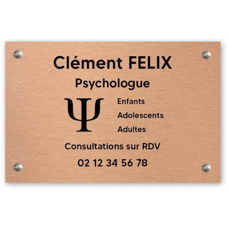 Plaque professionnelle personnalisée avec logo en PVC pour psychologue - 1 à 5 lignes de texte - 30 cm x 20 cm - Cuivre lettres noires - Adhésif 3M - Cuivre lettres noires