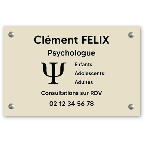 Plaque professionnelle personnalisée avec logo en PVC pour psychologue - 1 à 5 lignes de texte - 30 cm x 20 cm - Plastique - Vis + chevilles + cache vis - Plastique