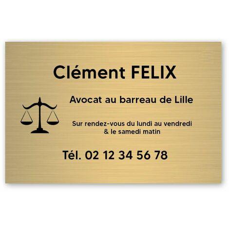 Plaque professionnelle personnalisée avec logo pour avocat, société d'avocats - Plaque PVC - Format 30 cm x 20 cm - Or lettres noires - Adhésif 3M - Or lettres noires