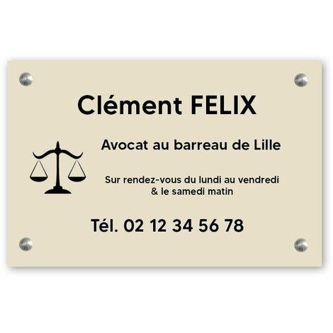 Plaque professionnelle personnalisée avec logo pour avocat, société d'avocats - Plaque PVC - Format 30 cm x 20 cm - Plastique - Vis + chevilles + cache vis - Plastique