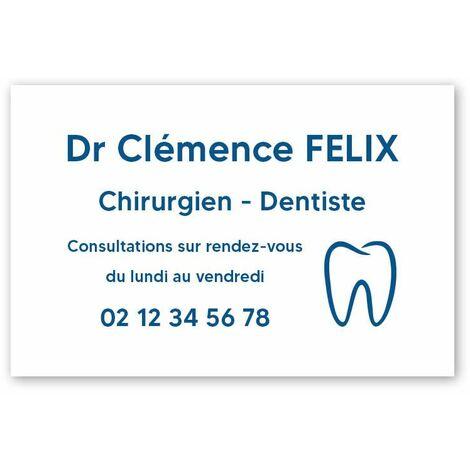 Plaque professionnelle personnalisée avec logo pour dentiste, chirurgien dentiste - Plaque PVC - Format 30 cm x 20 cm - Cuivre lettres noires - Vis + chevilles + cache vis - Cuivre lettres noires