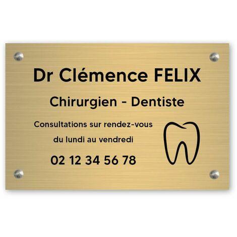 Plaque professionnelle personnalisée avec logo pour dentiste, chirurgien dentiste - Plaque PVC - Format 30 cm x 20 cm - Plastique - Vis + chevilles + cache vis - Plastique