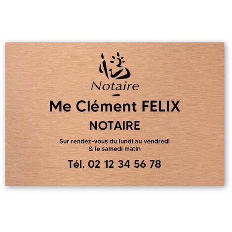 Plaque professionnelle personnalisée avec logo pour notaire, office notarial - Plaque PVC - Format 30 cm x 20 cm - Cuivre lettres noires - Adhésif 3M - Cuivre lettres noires