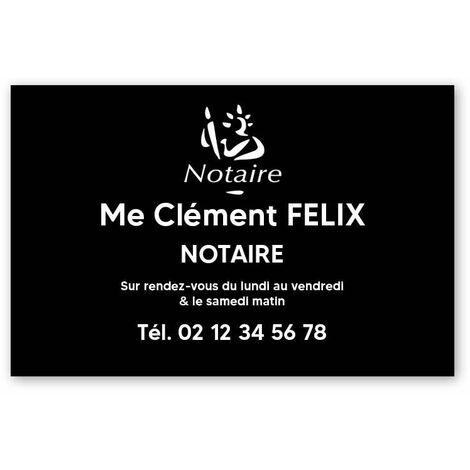 Plaque professionnelle personnalisée avec logo pour notaire, office notarial - Plaque PVC - Format 30 cm x 20 cm - Plastique - Adhésif 3M - Plastique