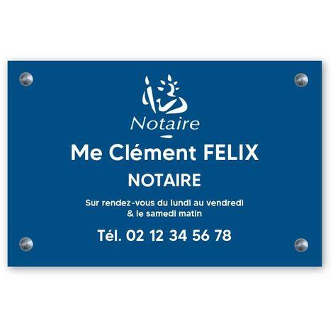 Plaque professionnelle personnalisée avec logo pour notaire, office notarial - Plaque PVC - Format 30 cm x 20 cm - Plastique - Vis + chevilles + cache vis - Plastique