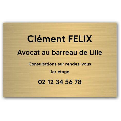 Plaque professionnelle personnalisée en PVC pour avocat, société d'avocats - 1 à 5 lignes de texte - Format 30 x 20 cm - Plastique - Adhésif 3M - Plastique